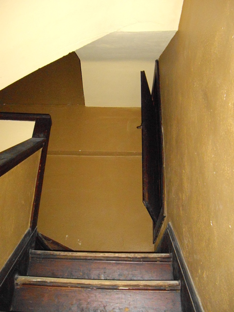 Sneak peek at stairwell (off-limits) to projection booth)