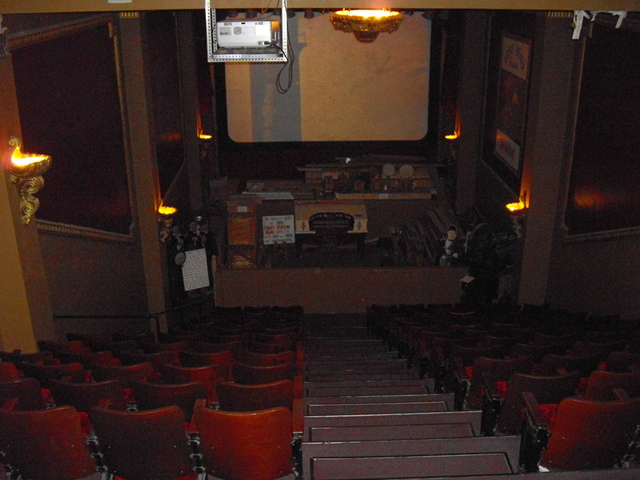 Looking down at screen/stage from balcony
