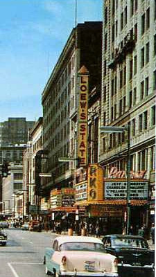 RKO's Palace Theatre exterior with the nearby Loew's State Theatre