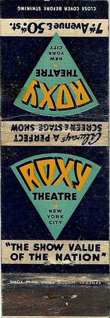 Roxy Theatre matchbook cover