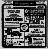 Ad from The Free Lance-Star Newspaper, Saturday, February 18, 1985 showing what was playing at the Spotsylvania Mall Cinemas