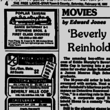 Ad from The Free Lance-Star Newspaper, Saturday, February 16, 1985 showing what was playing at the Victoria Theatre