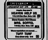 Ad from The Free-Lance Star newspaper Saturday, February 16, 1985 showing what was playing at the Twin Cinemas at Greenbrier