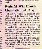 Robert Rothafel to Liquidate Roxy