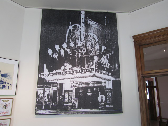 Washington Theater information on display at the Quincy Museum