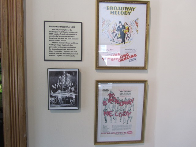 Information on Washington Theater displayed at the Quincy Museum.