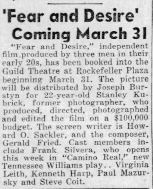 First Stanley Kubrick feature scheduled to open.