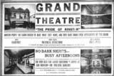 Early Grand Theatre print ad via Jane Gradeless Phillips‎.
