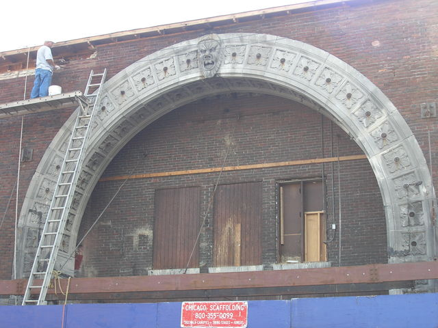 Rivoli/Mosque esterior renovation, 9/11/11. Some folks outside said the original brickwork is going to be cleaned and preserved.