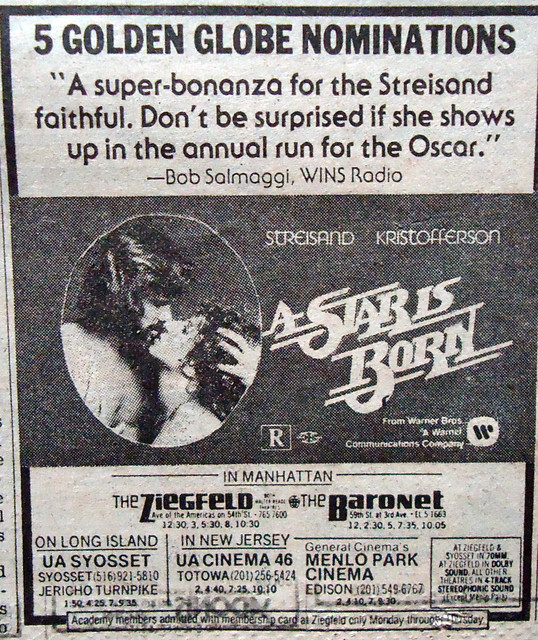 Ziegfeld Theatre &quot;A Star is Born&quot; (1976) engagement