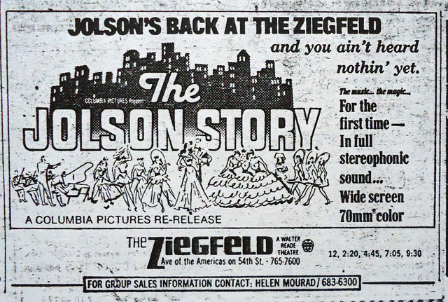 "Ziegfeld Theatre ""The Jolson Story"" reissue in 70MM engagement"