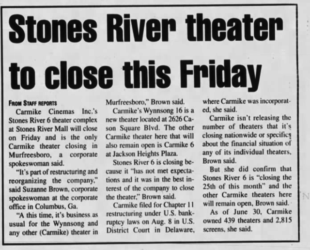 Stones River Theater to Close. 20 Aug 2000 DNJ