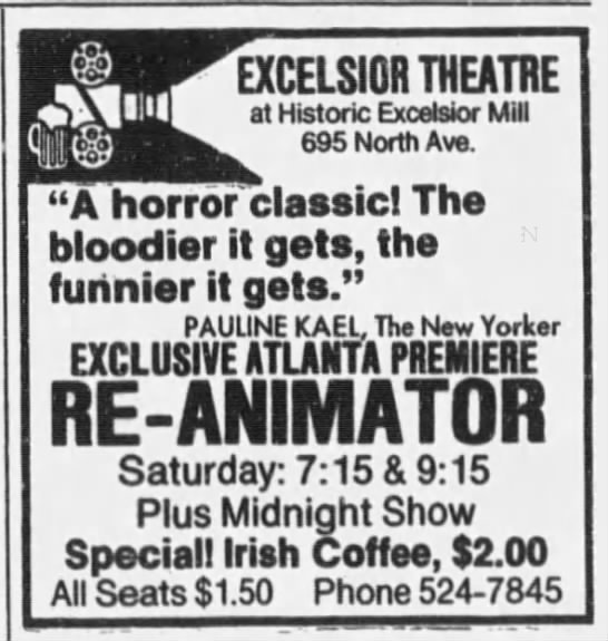 Re-Animator's Atlanta Premiere on January 17, 1987 at the Excelsior Theatre