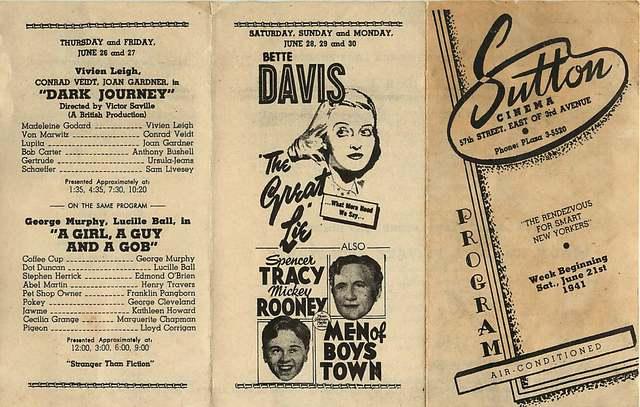 Sutton Cinema 57th Street NYC June 21st 1941