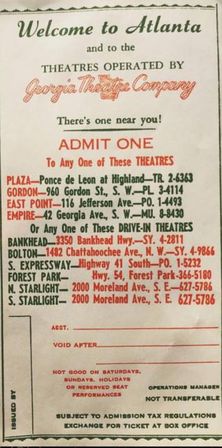 Georgia Theatre Company Comp Ticket