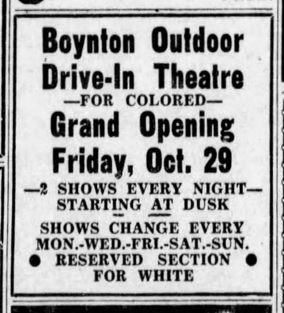 October 29th, 1948 Grand Opening print ad courtesy of the Historic Boynton Beach Facebook page.