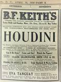 April 16, 1916 Houdini appearance ad at B.F. Keith's credit The Evening Star.