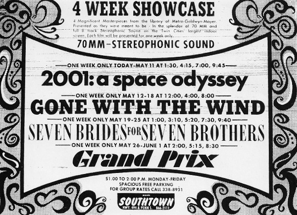 Mann's Southtown Theatre newpaper ad for 70MM festival