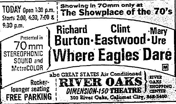 """River Oaks Theatre newspaper ad for """"Where Eagles Dare"""" in 70MM"""