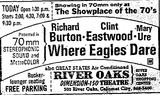 "River Oaks Theatre newspaper ad for ""Where Eagles Dare"" in 70MM"