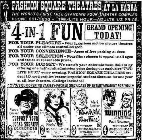 AMC's Fashion Square 4 opening newspaper ad
