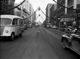 Orpheum blade sign in the background, 1947 photo credit Putnam Museum of History and Natural Sciences.