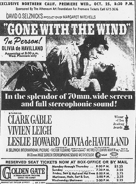 "Trans-Beacon's Golden Gate Theatre ""Gone With The Wind"" engagement in 70MM"