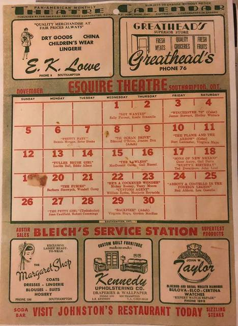 November 1950 schedule for the Esquire Theatre in Southampton