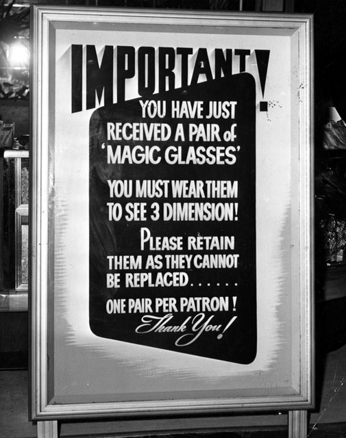 Paramount Theatre 3D glasses patrons lobby sign
