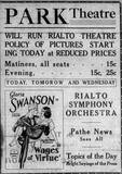 Park Theatre honoring recently burned Rialto Theatre reduced prices policy, 1925.
