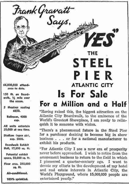 Steel Pier promo ad credit The Billboard, August 19, 1944.