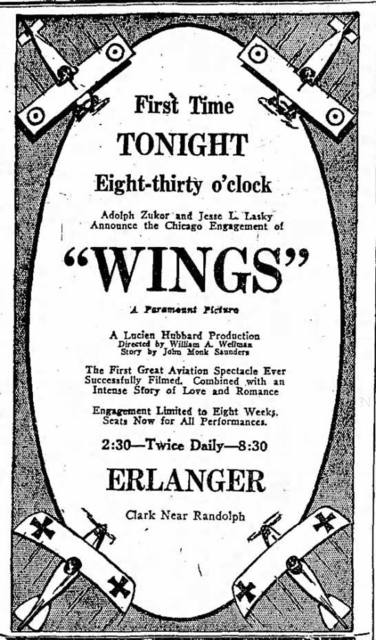 "October 30, 1927 print ad for the film ""Wings""."