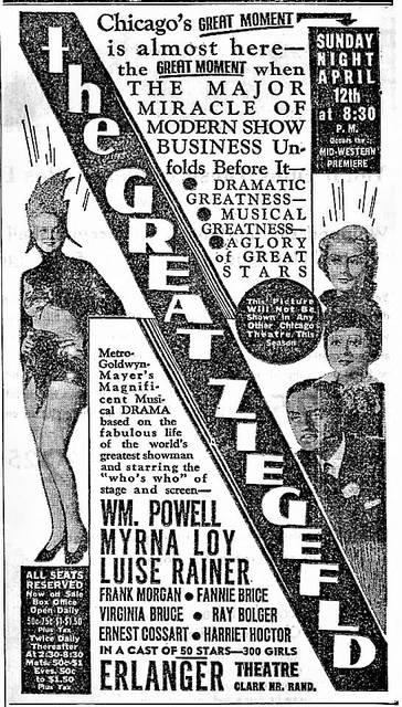 "April 10, 1936 print ad for ""The Great Ziegfeld""."