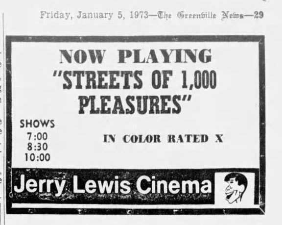 X rated at Greer SC Jerry Lewis 1/5/73