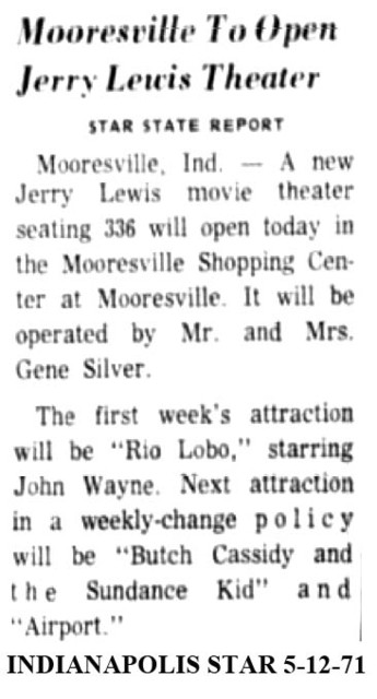Mooresville IN to open today 5/12/71
