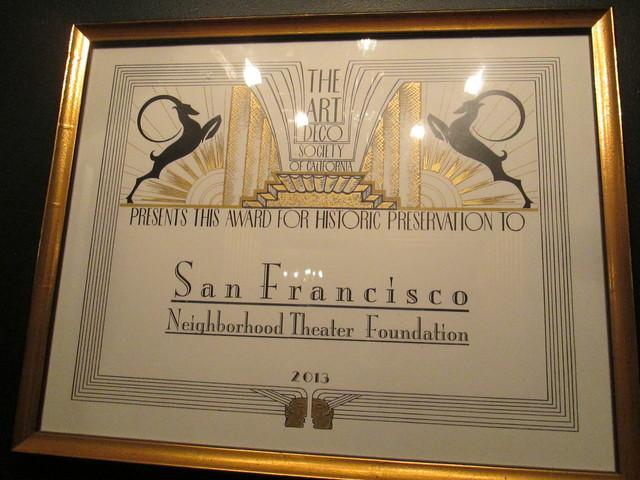 Deco Award Vogue Theatre San Francisco CA