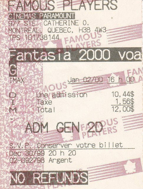 Ticket for Fantasia 2000 @ The Famous Players Paramount
