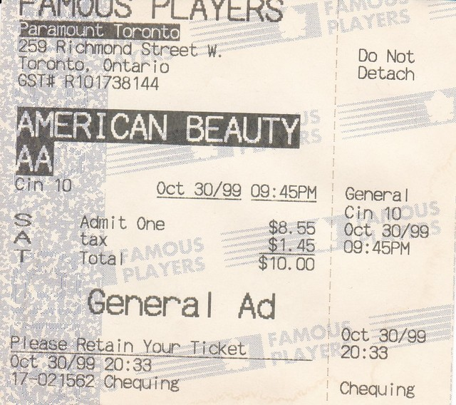 Ticket for American Beauty @ The Toronto Paramouont