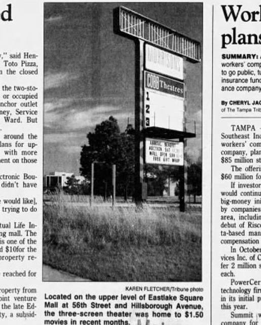 Closied as Cobb Theatres in 1996. Newspaper image via Bud Clark.