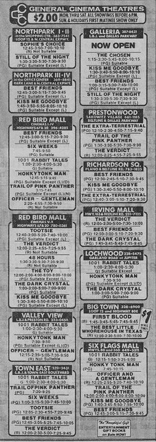 Galleria Theater ad for January 2, 1983