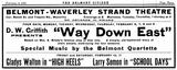 "1922 Strand Schedule ""Way Down East"""