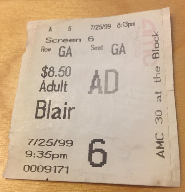 Blair Witch Project Ticket Stub 07-25-1999