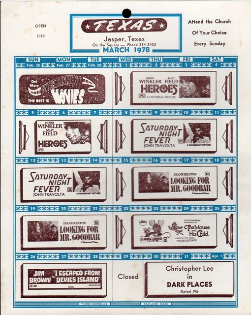 March 1978 Movie Listing for the Texas Theatre in Jasper, TX
