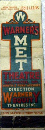 Warner's Met Theatre matchbook cover
