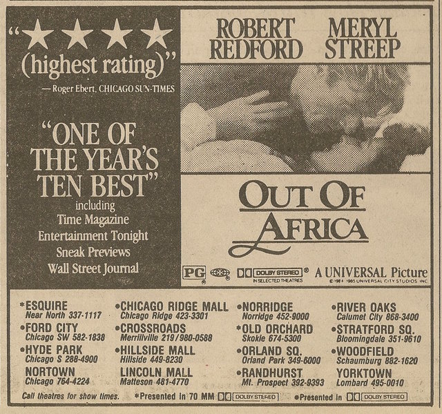 Ad from Chicago Sun-Times, Monday, January 27, 1986, showing what was playing at the Old Orchard Theater