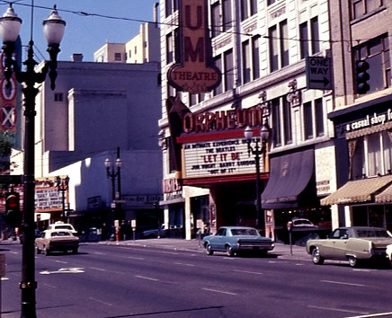 Orpheum Theatre exterior and the nearby Fox Theatre