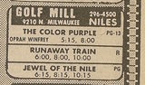 Ad from Chicago Sun-Times newspaper, Monday, January 27, 1986, showing what was playing at the Golf Mill Theatres 1-2-3