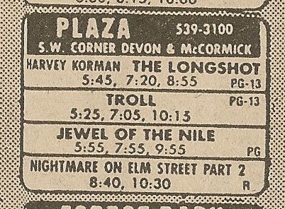 Ad from Chicago Sun-Times newspaper, Monday, January 27, 1986, showing what was playing at the Plaza Theatre