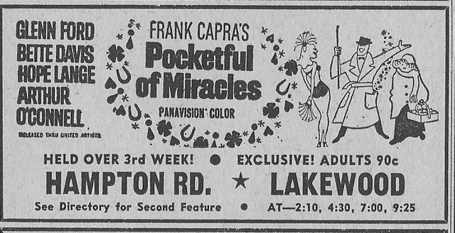 Hampton Road Drive-In ad, February 23, 1962