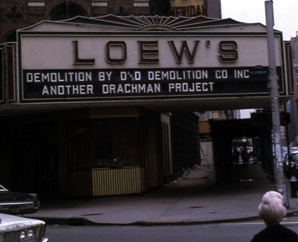 Loew's Sheridan Theatre exterior being razed